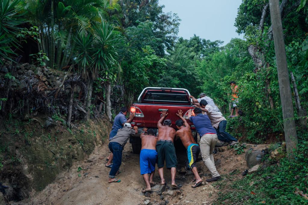 En route pour le jardin communautaire de la communautee reculee de Las Playeras, Honduras, a une heure de Choluteca. Visite avec Xavier Fernandez, d'Amigos de la Tierra.